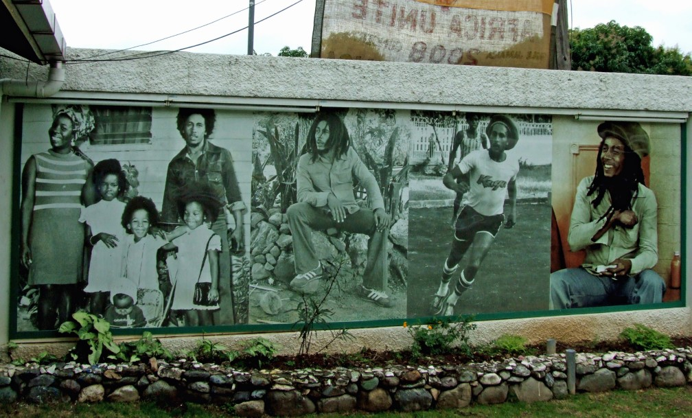 Wall with images of Bob Marley