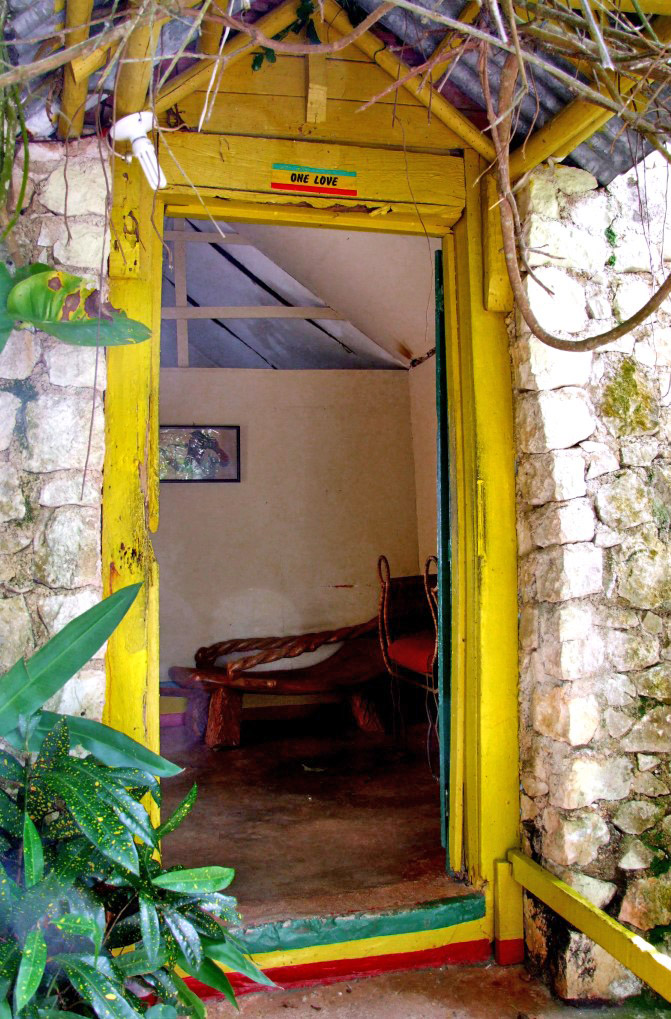 Doorway to small stone house