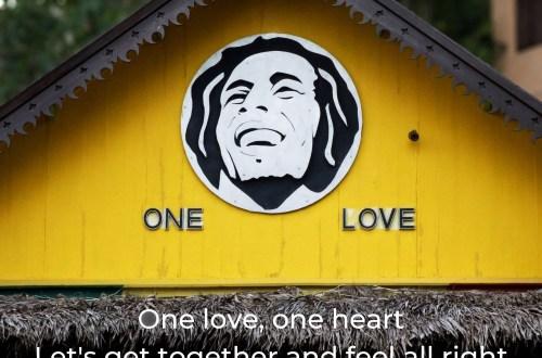 Yellow gable with image of Bob Marley