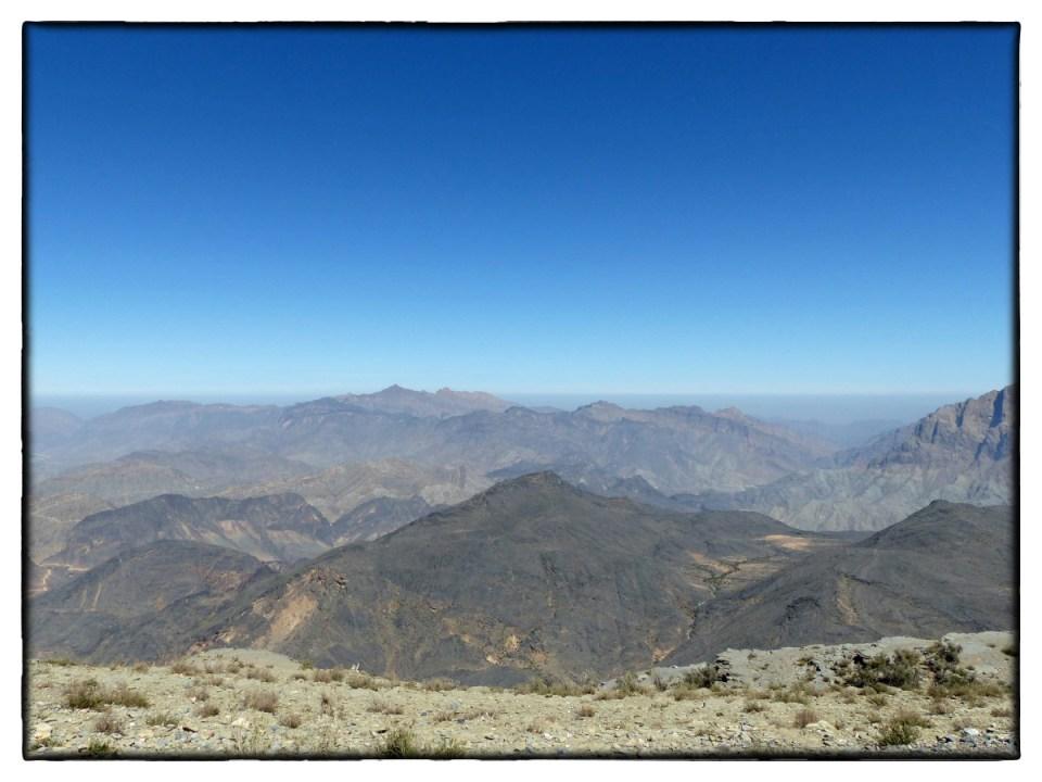 Vista of barren rocky mountain landscape