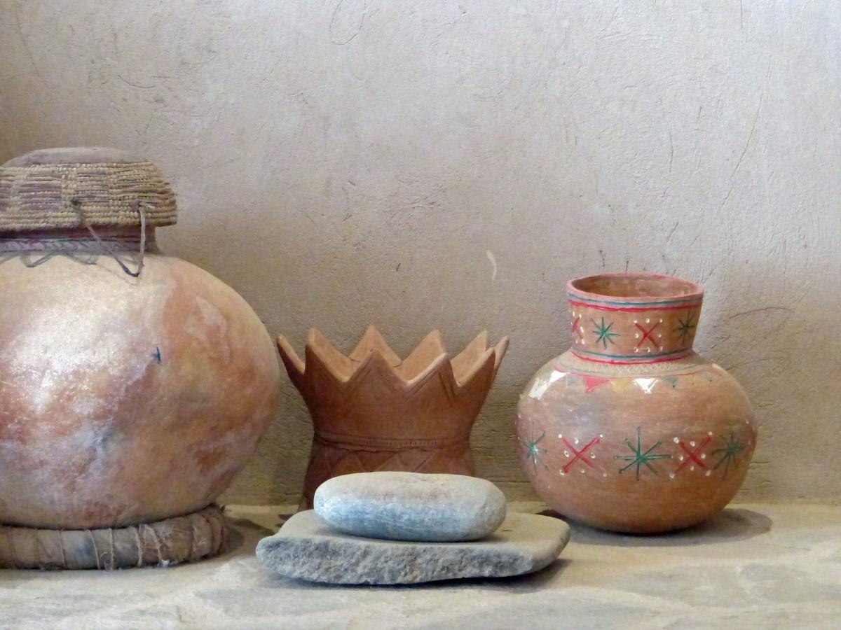 Old pottery on a stone shelf
