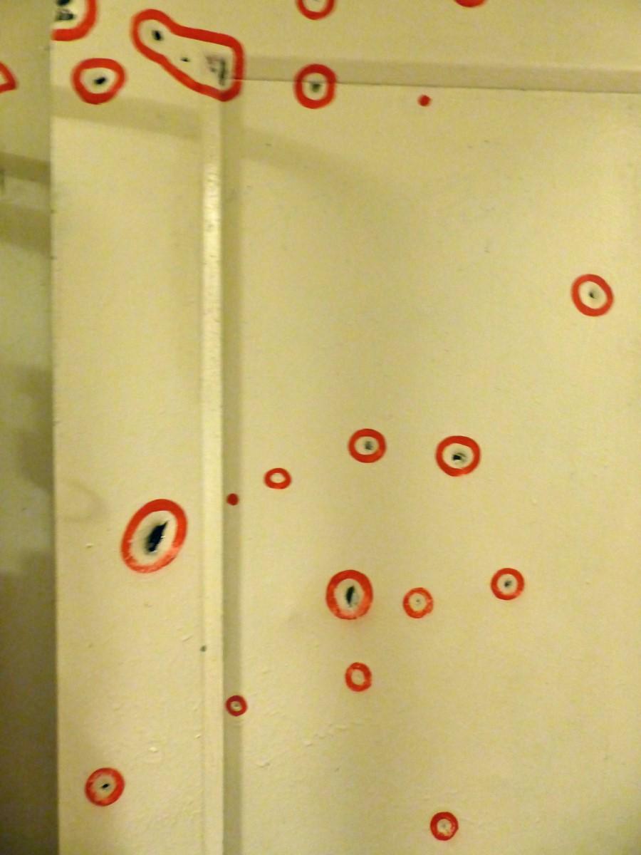 Holes in metal door circled in red