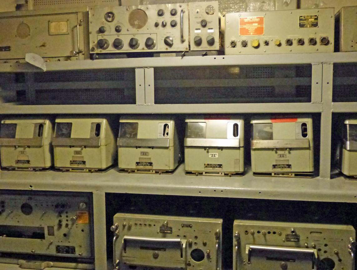 Shelves of small metal machines