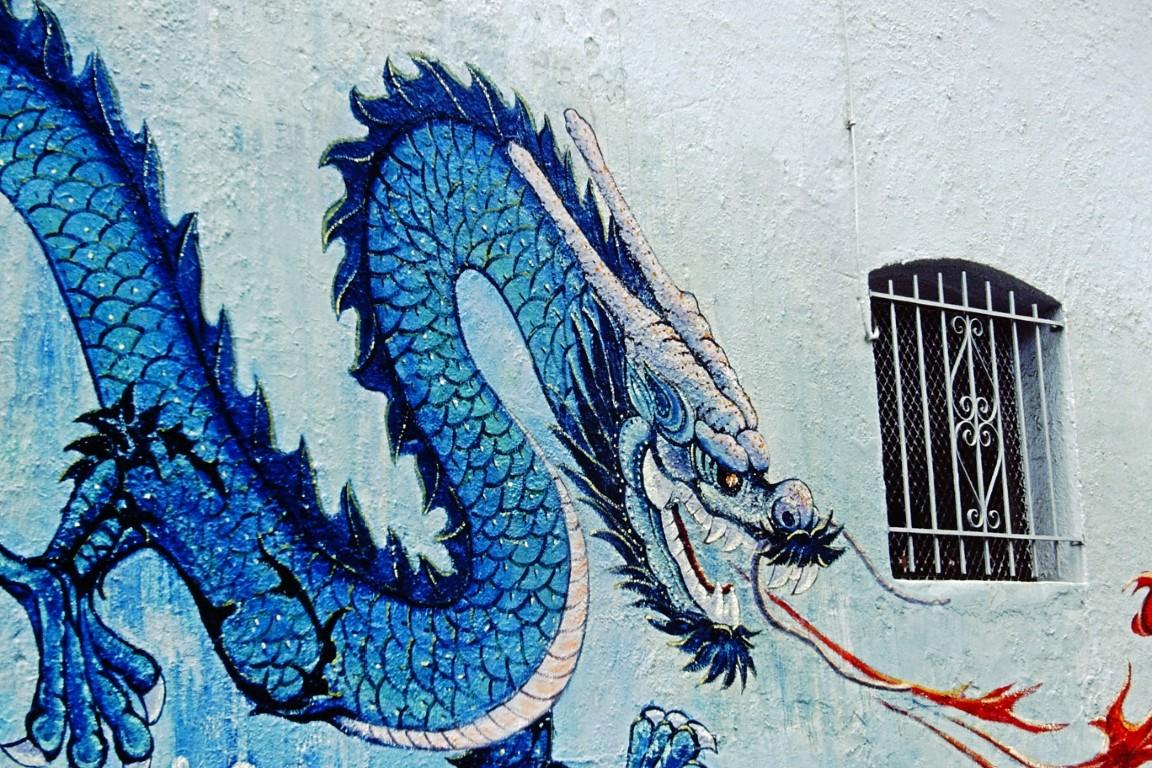 Mural depicting blue dragon
