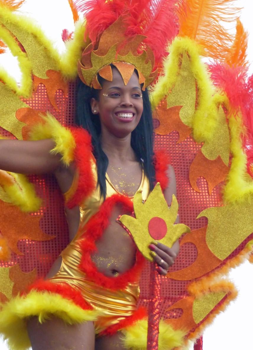 Woman in bright carnival costume