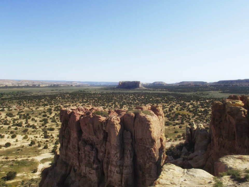 View over dry landscape with mesas