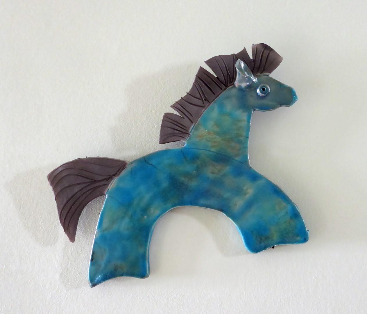 Blue ceramic horse