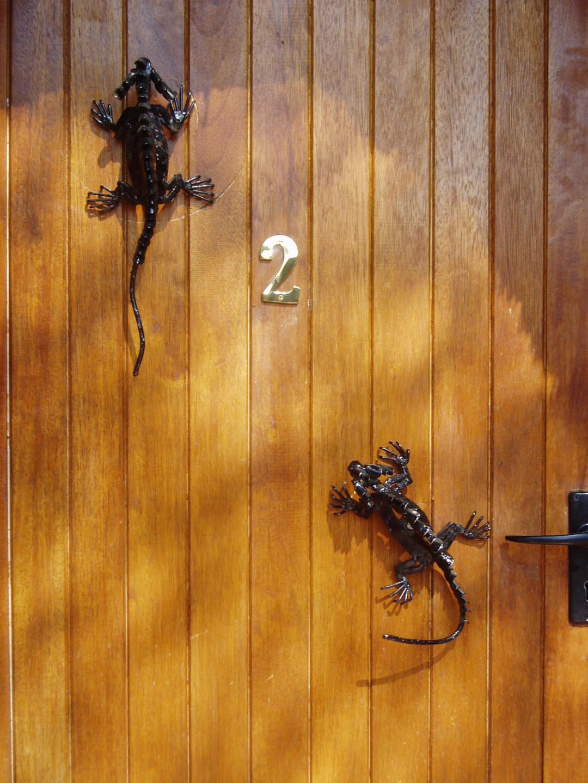 Wooden door with iron lizard ornaments