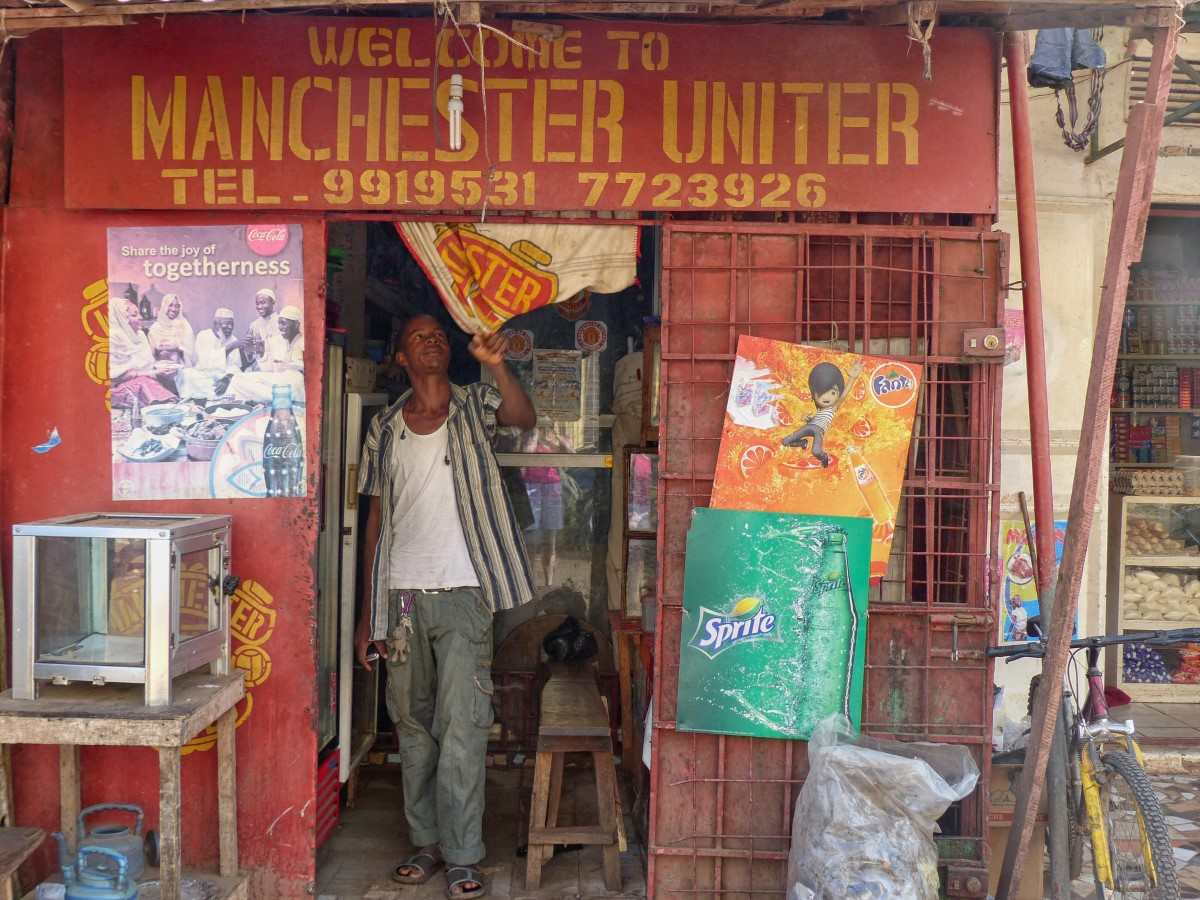 Shop with Manchester United sign