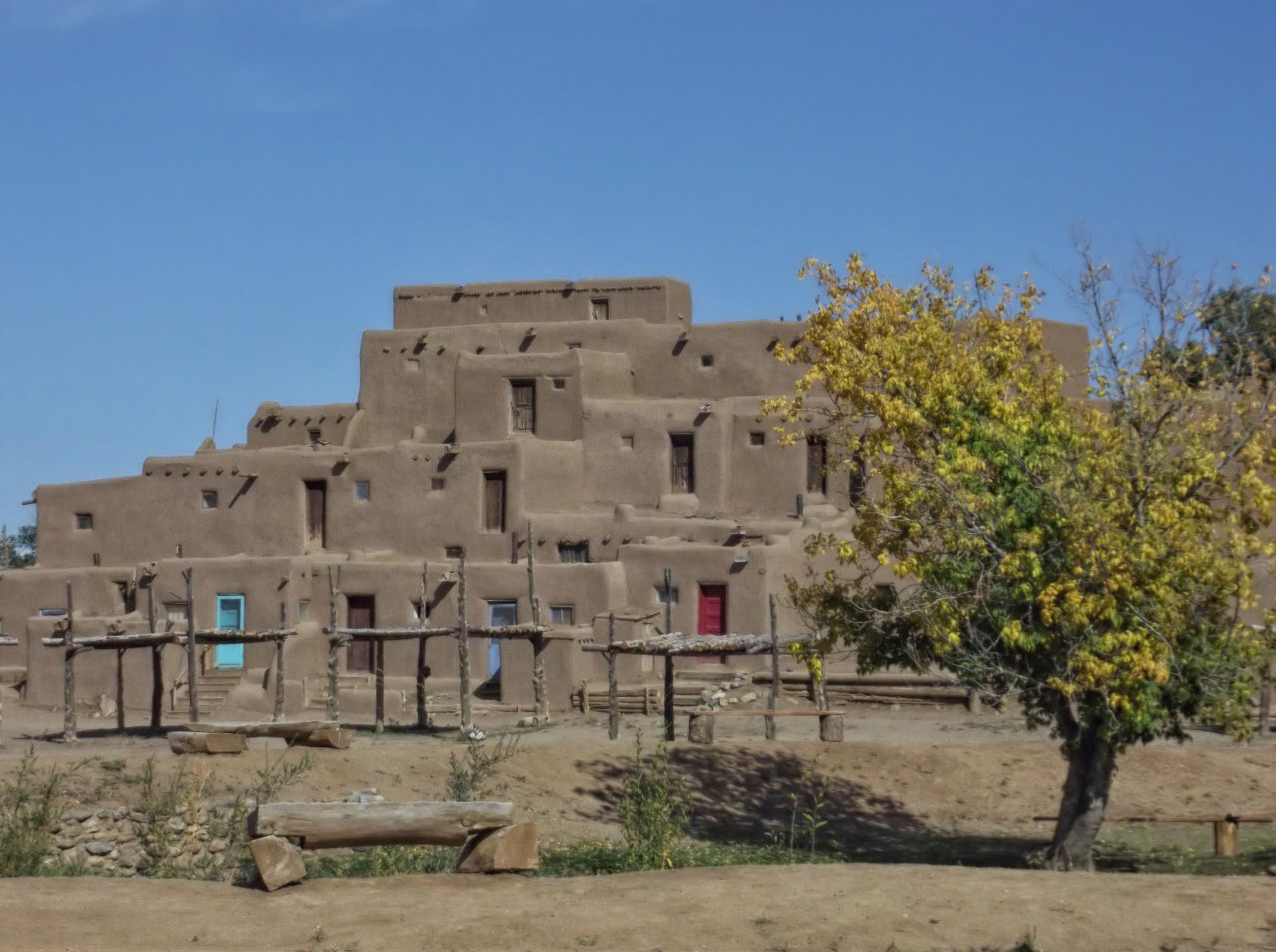 Adobe houses stacked on top of each other