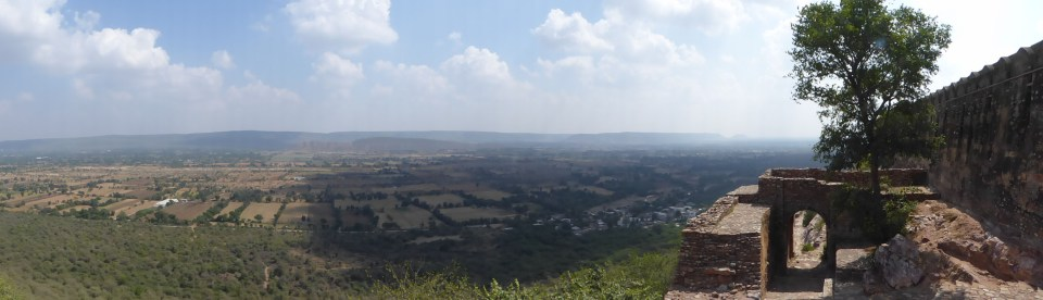 View over plains from high ramparts