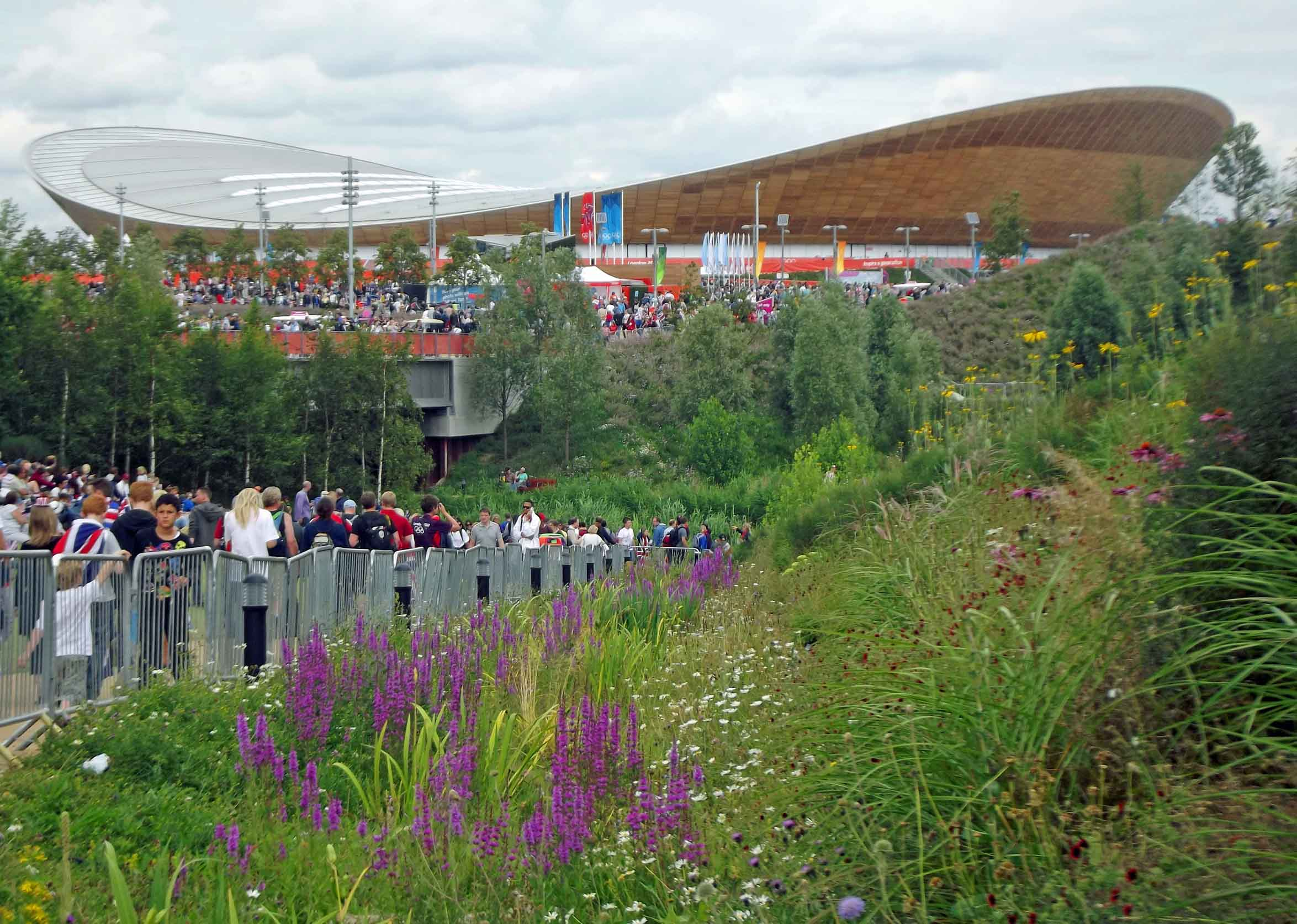 Sports stadium with crowds outside
