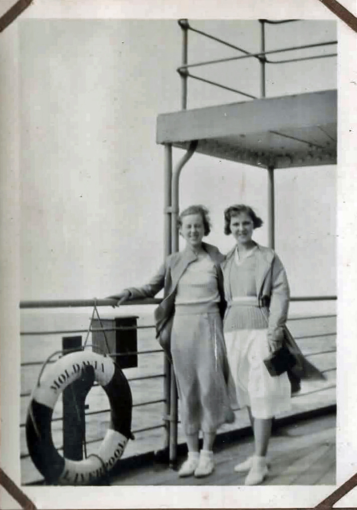 Old photo of two women on a ship