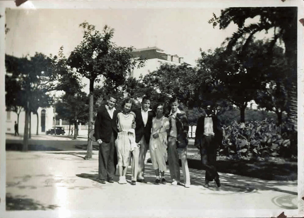 Old photo of people in a park