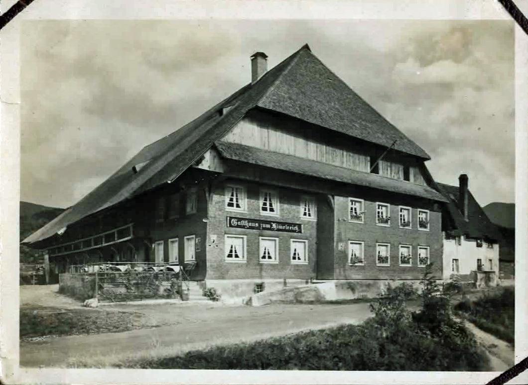 Old photo of large alpine hotel