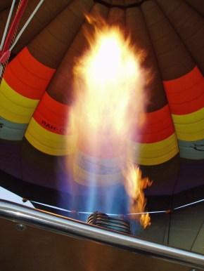 Flame shooting up into hot air balloon