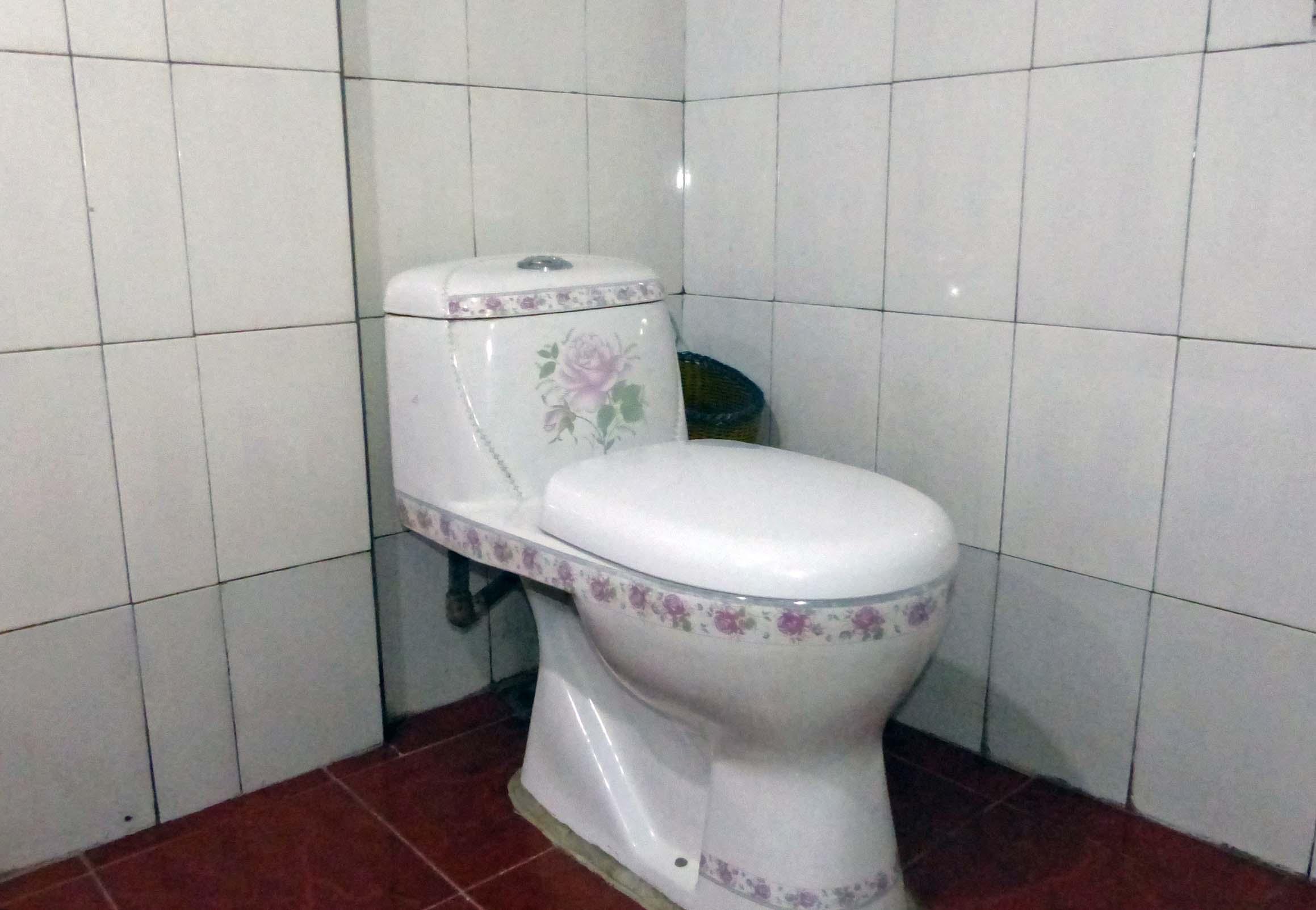 Toilet with mauve floral decoration