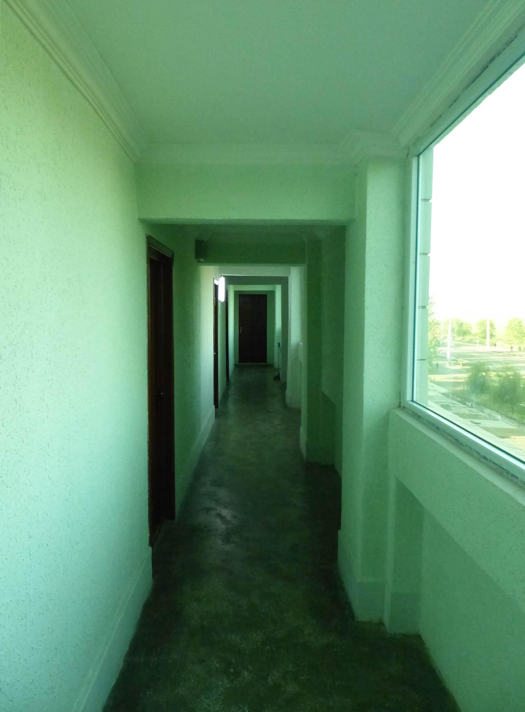 Green painted corridor