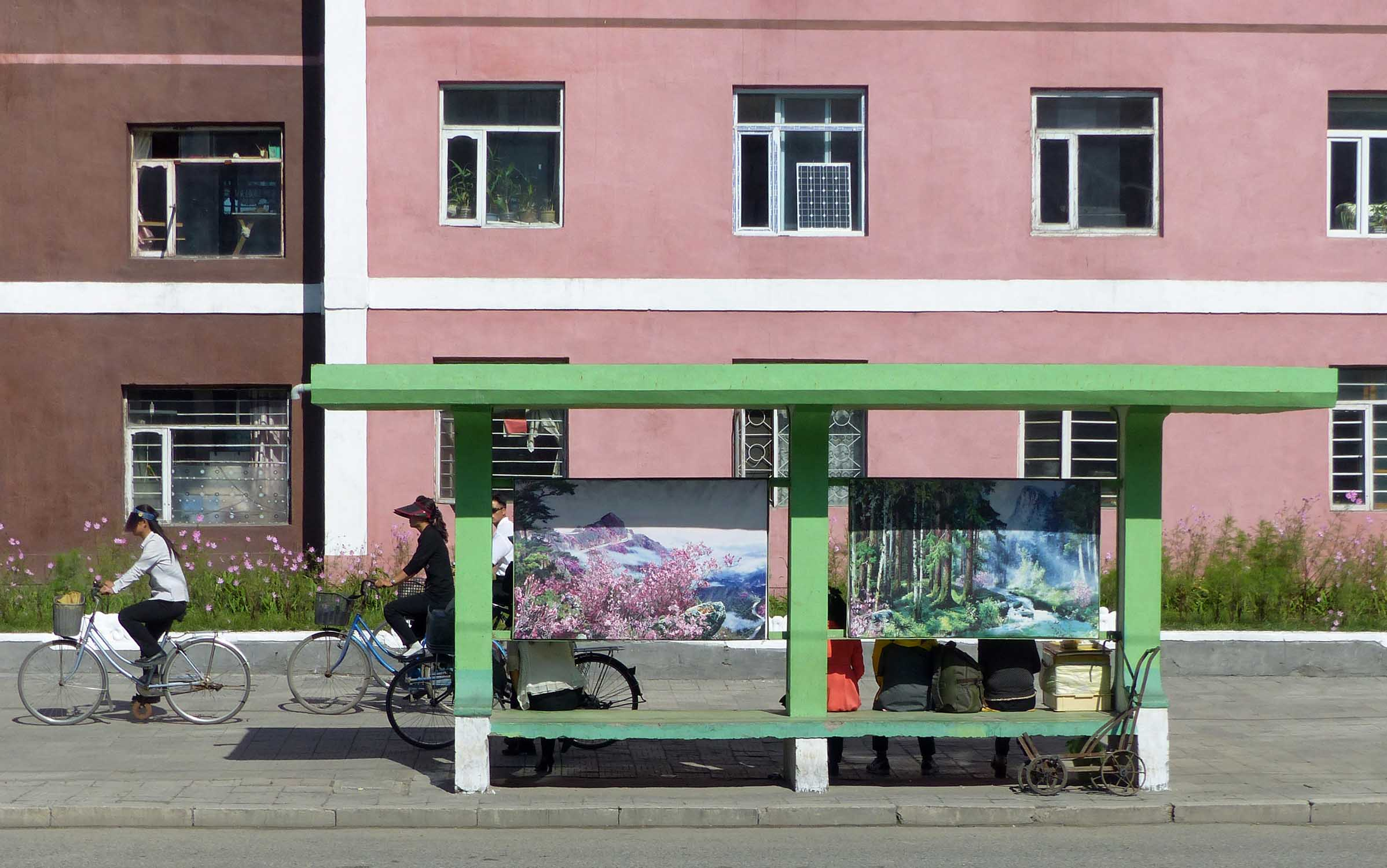 Green painted bus stop