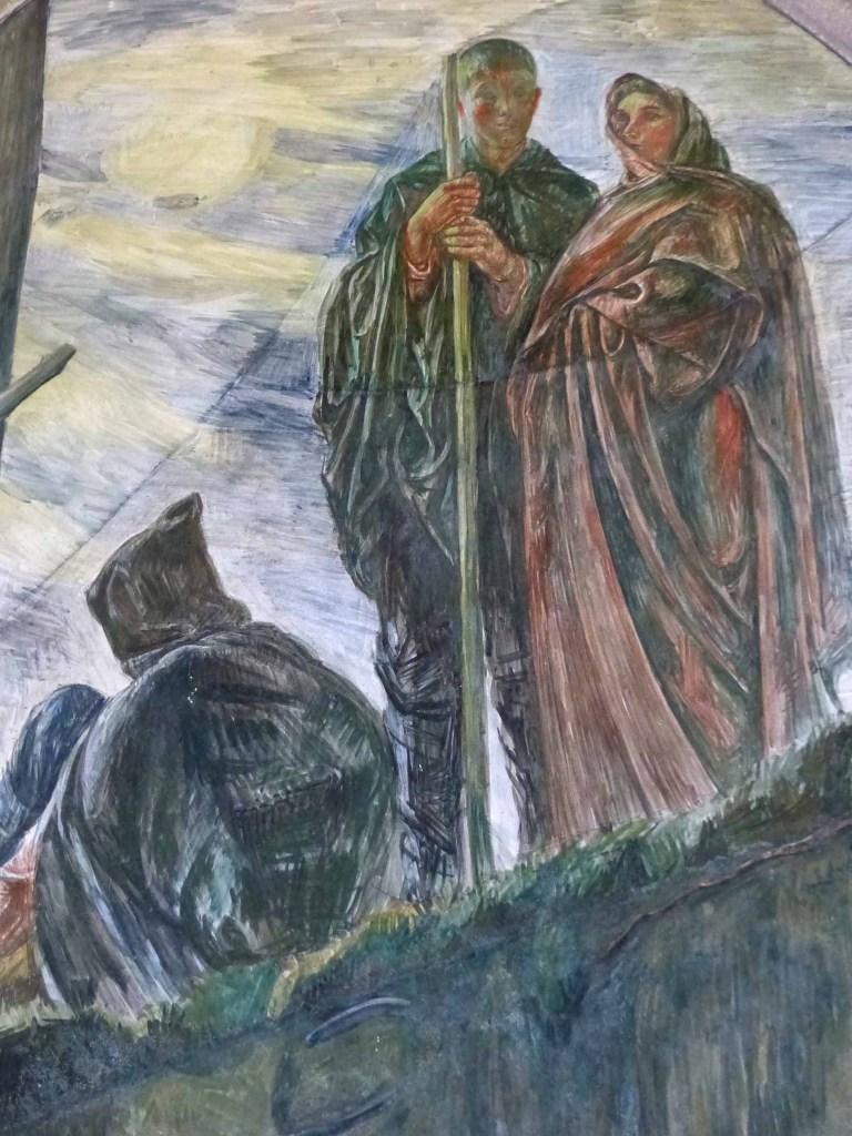 Fresco of three people in cloaks
