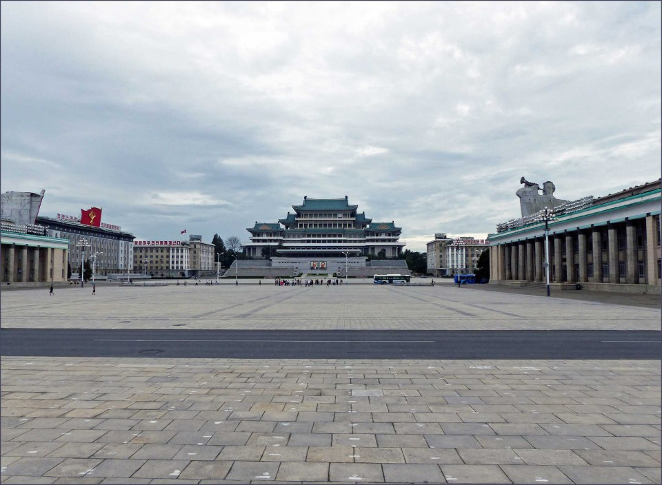 Large open square with brutalist buildings