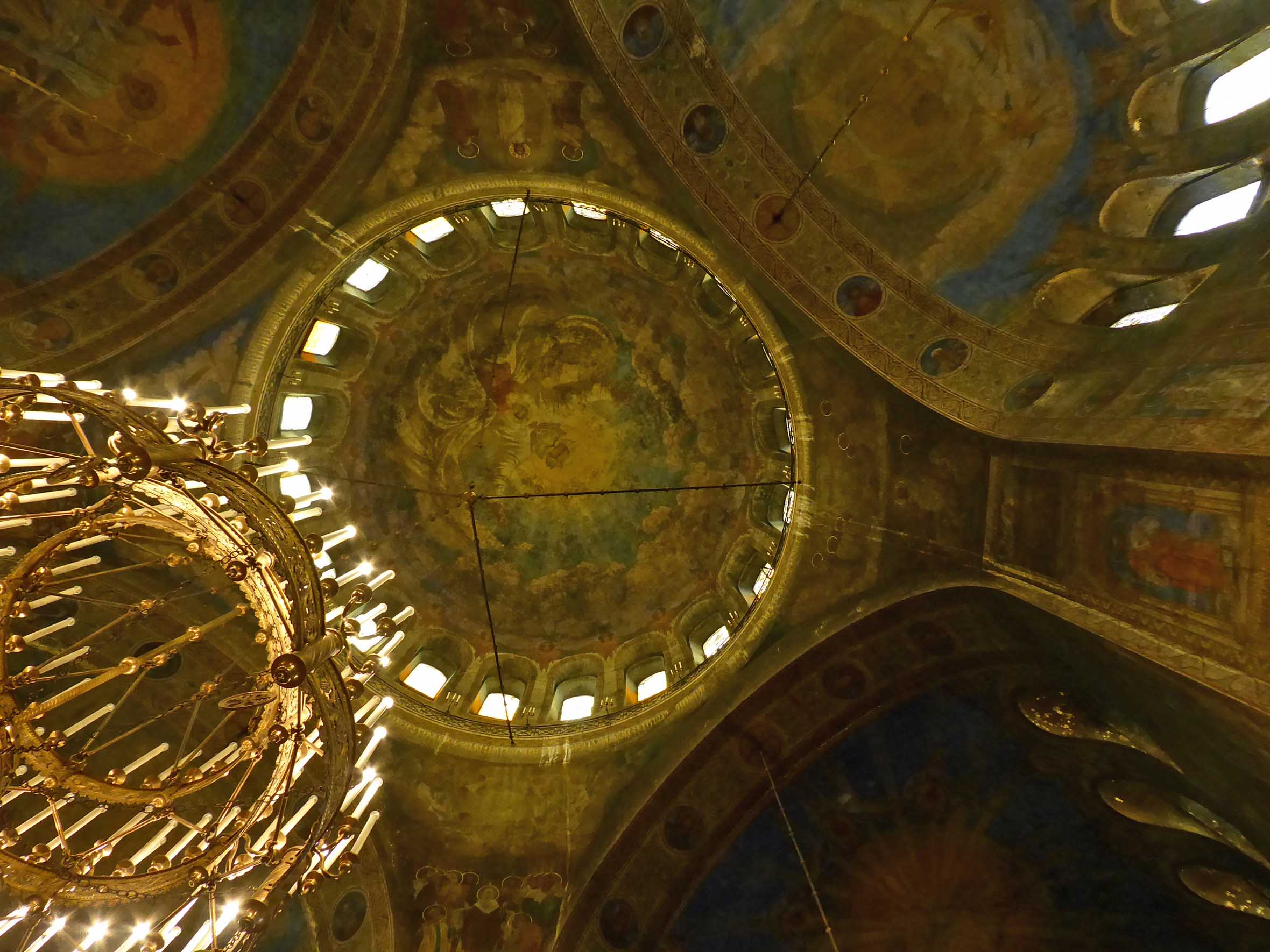 Inside the painted dome of an Orthodox cathedral