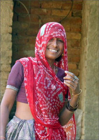 Smiling lady in Indian dress
