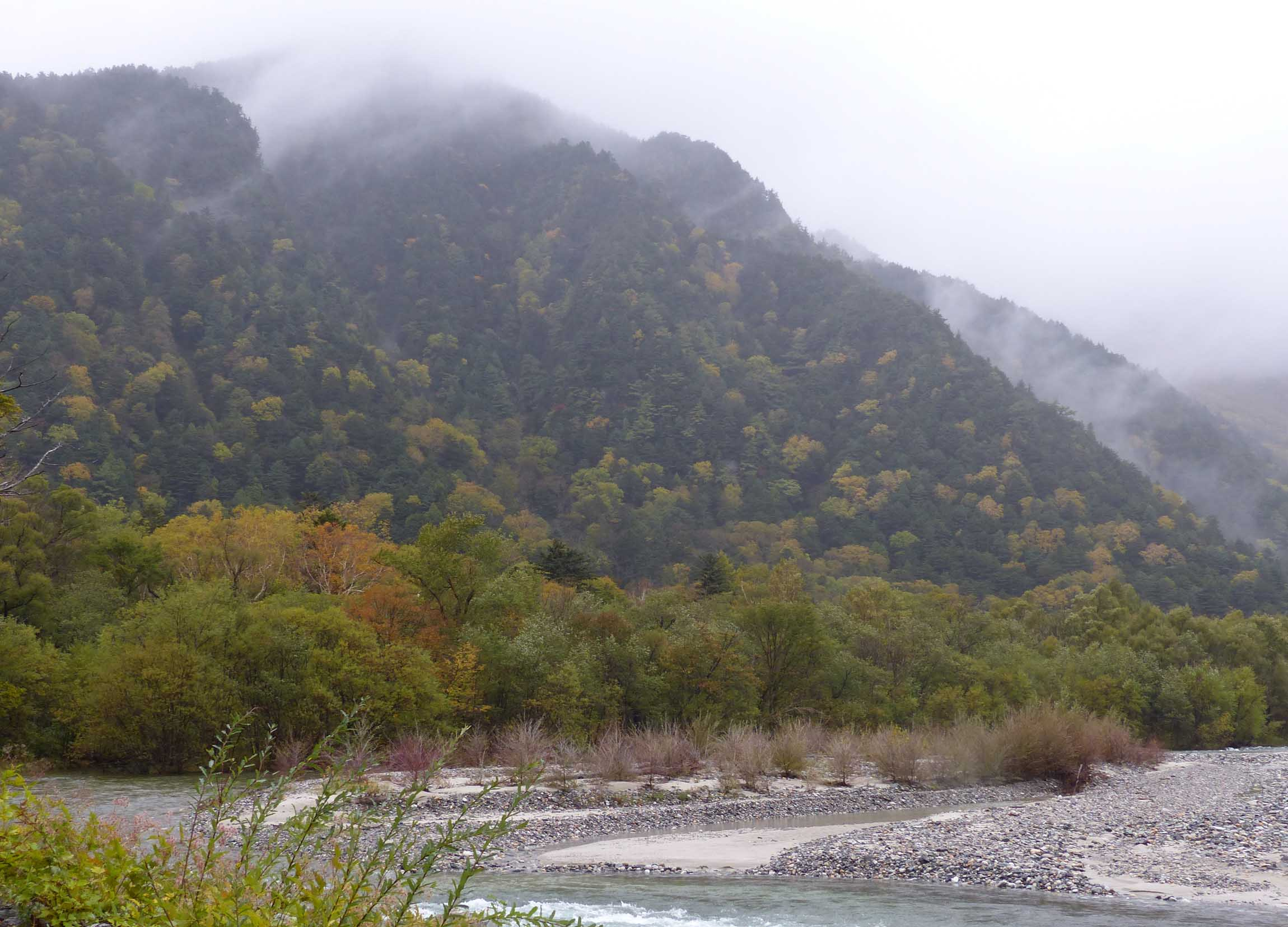 River surrounded by wooded hillsides
