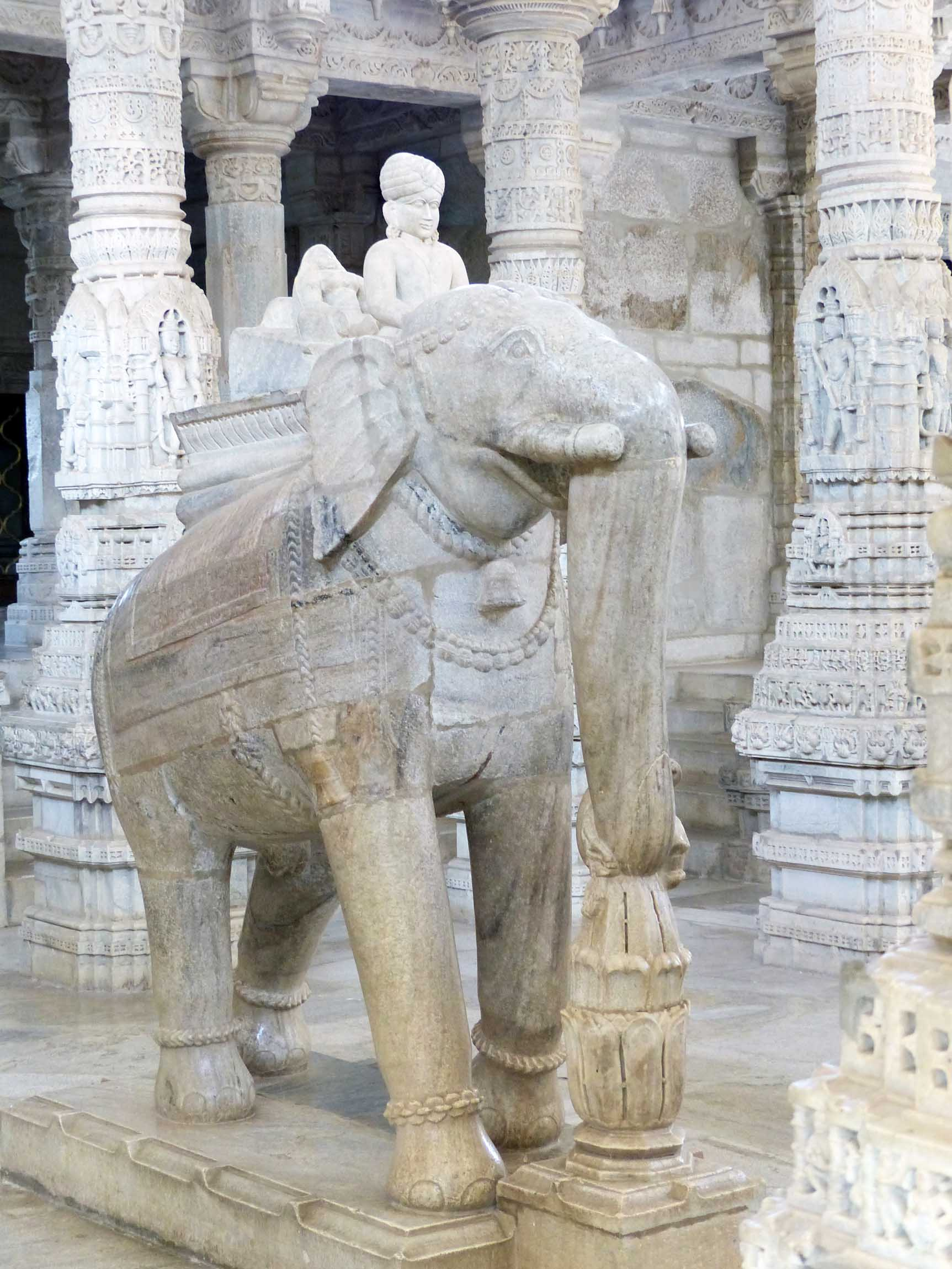 Large carved marble elephant
