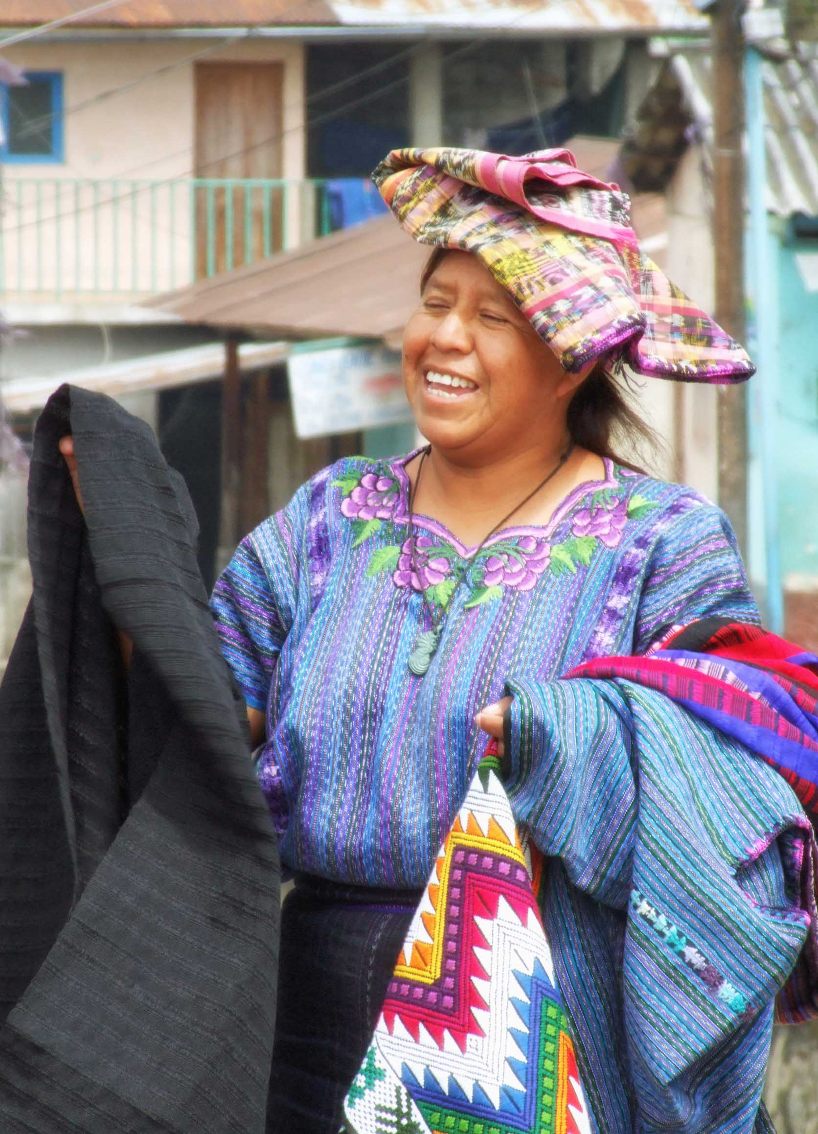 Woman in traditional blue clothing