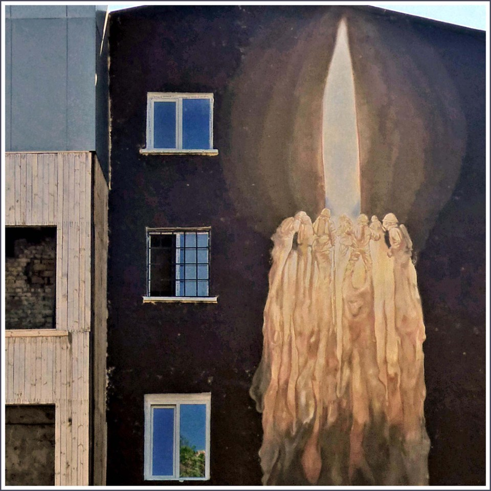 Huge mural of a candle