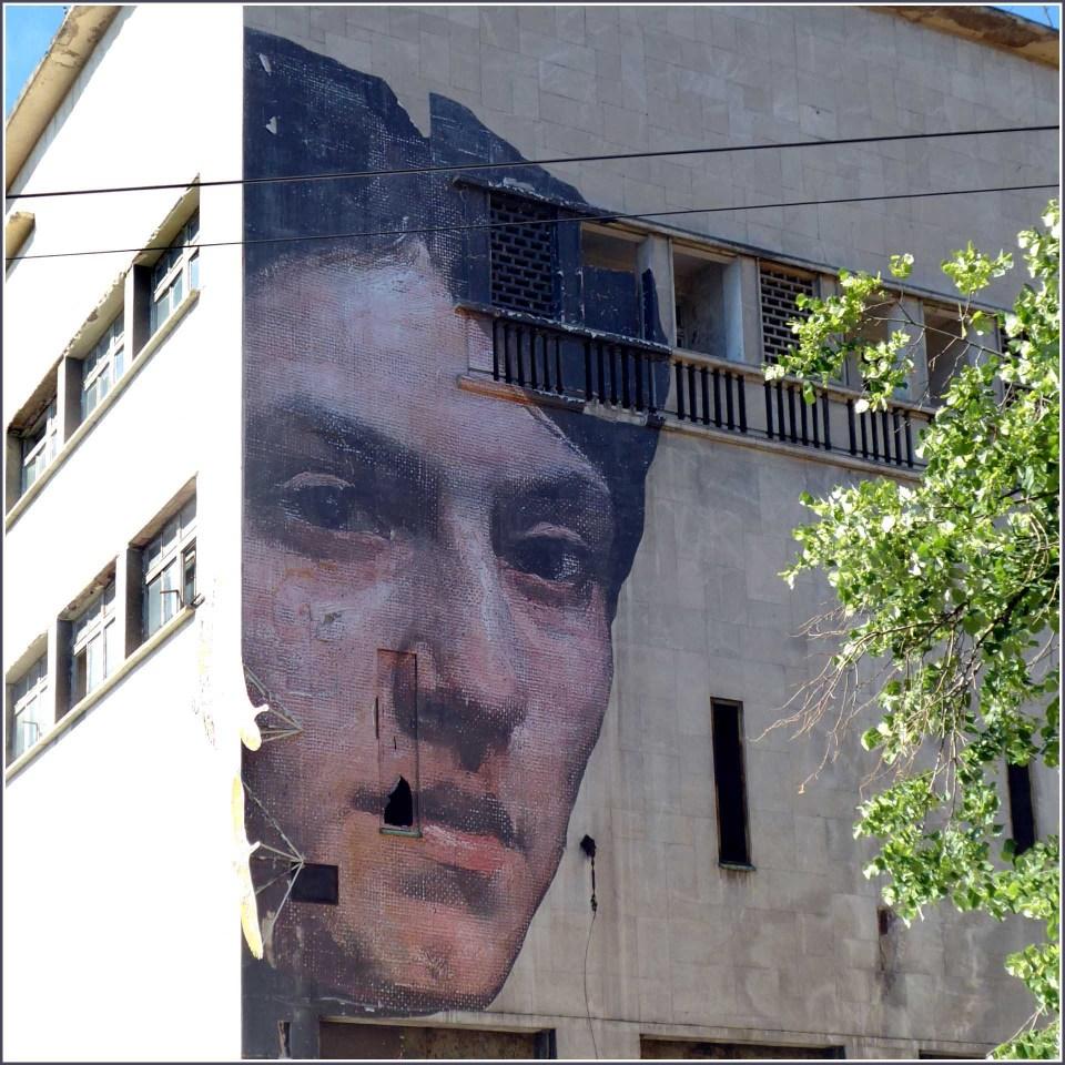 Mural of a man's face