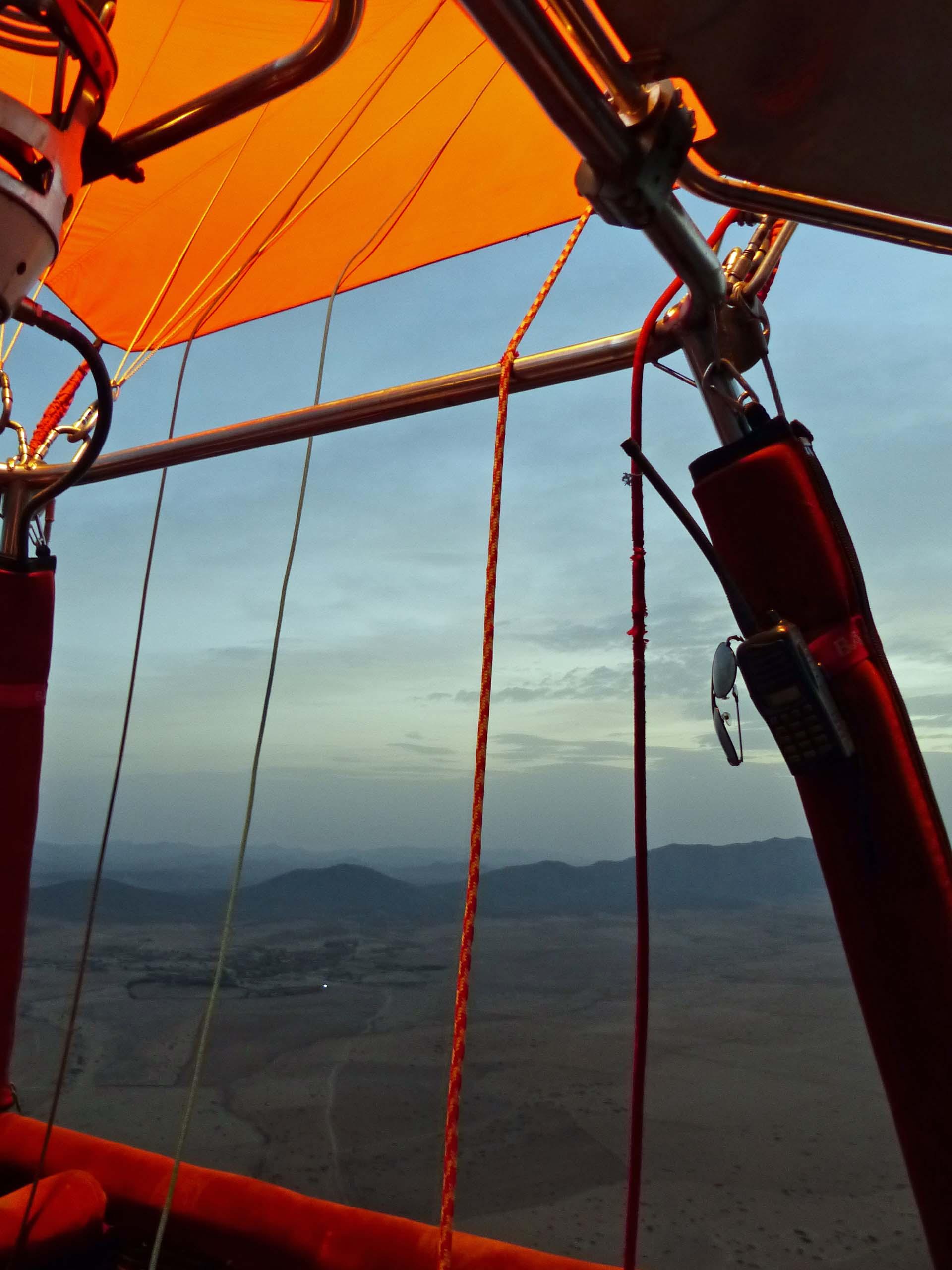 Desert view from hot air balloon basket