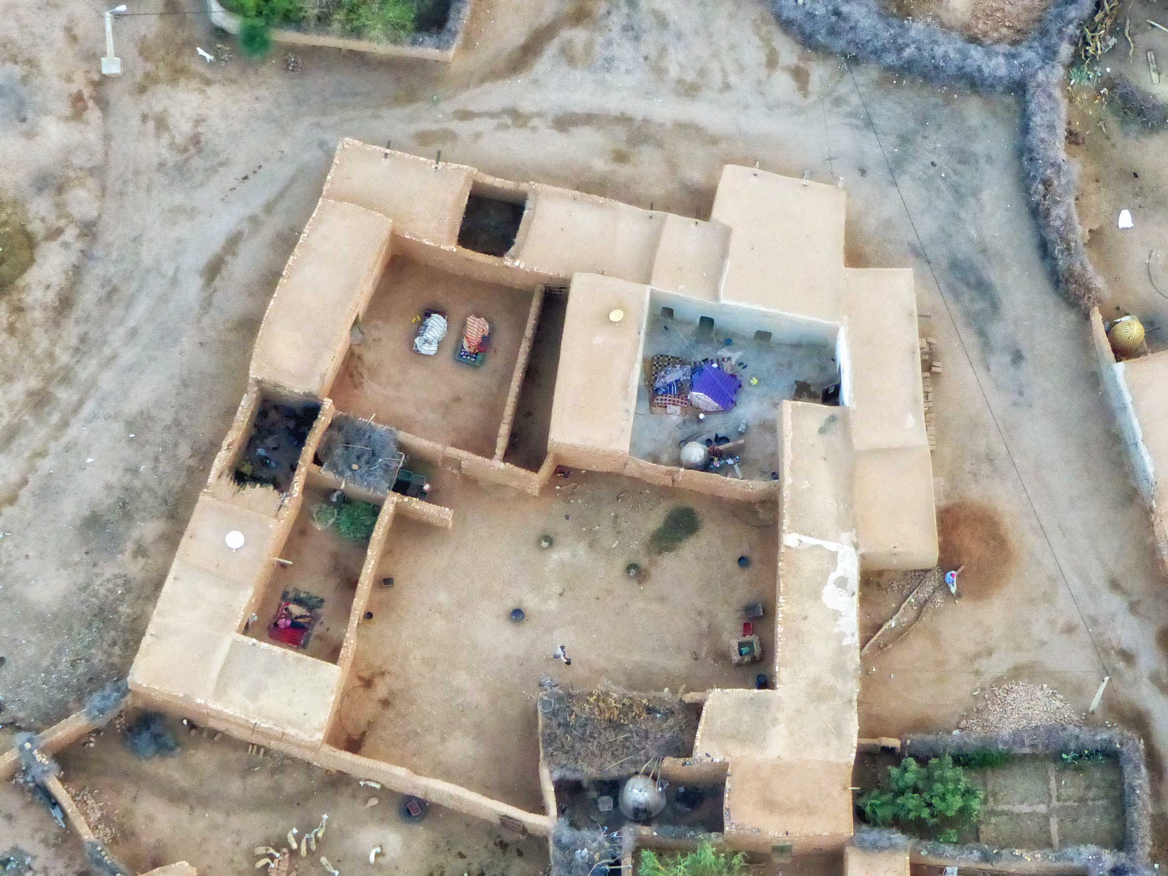 Aerial view of desert village home