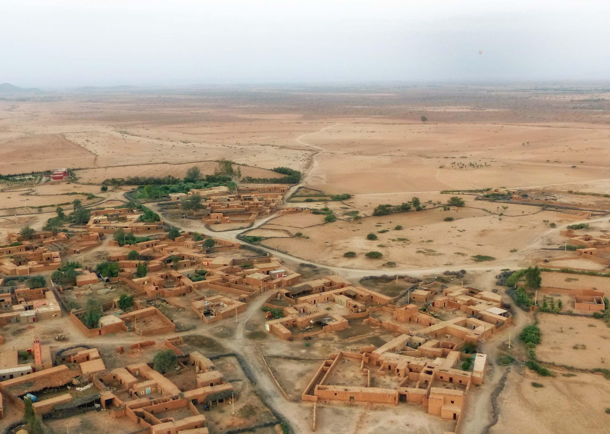 Aerial view of desert village