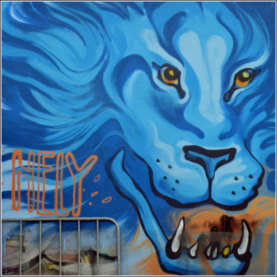 Mural of a blue lion