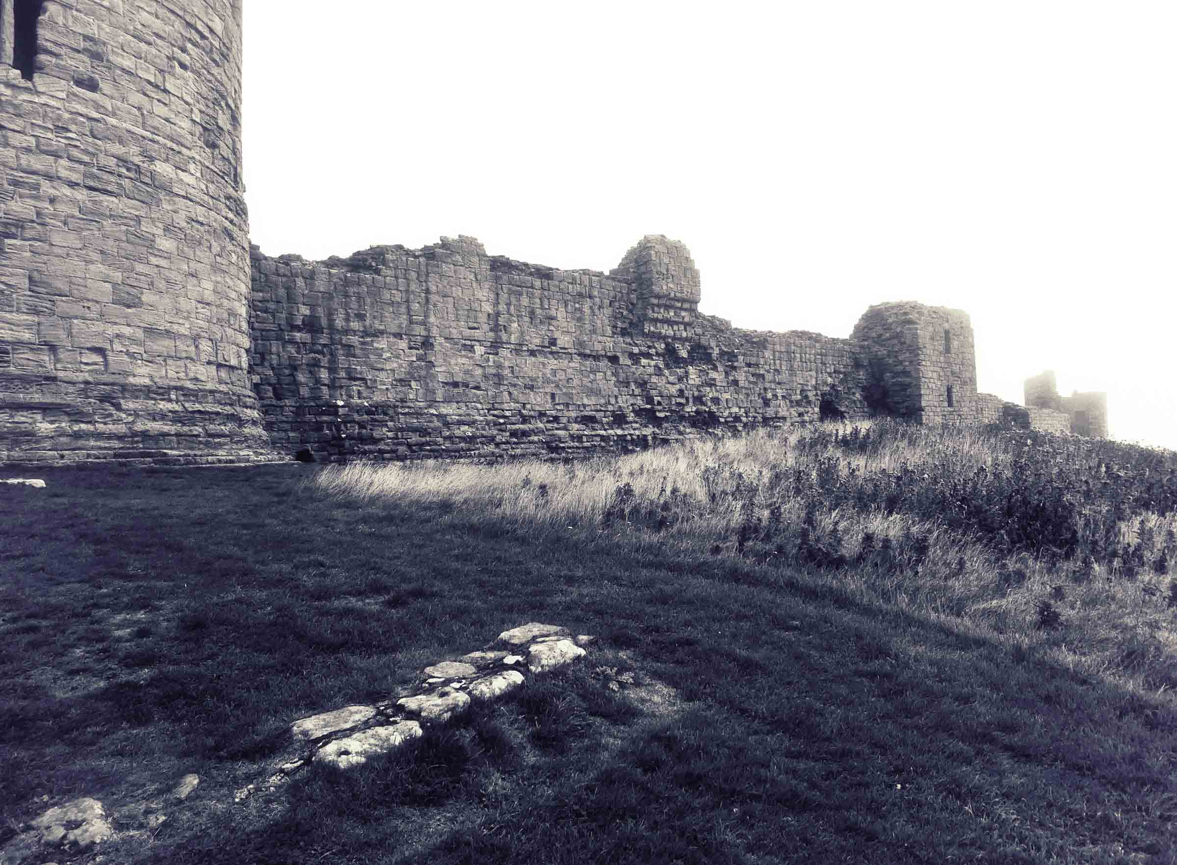 Black and white shot of a castle wall
