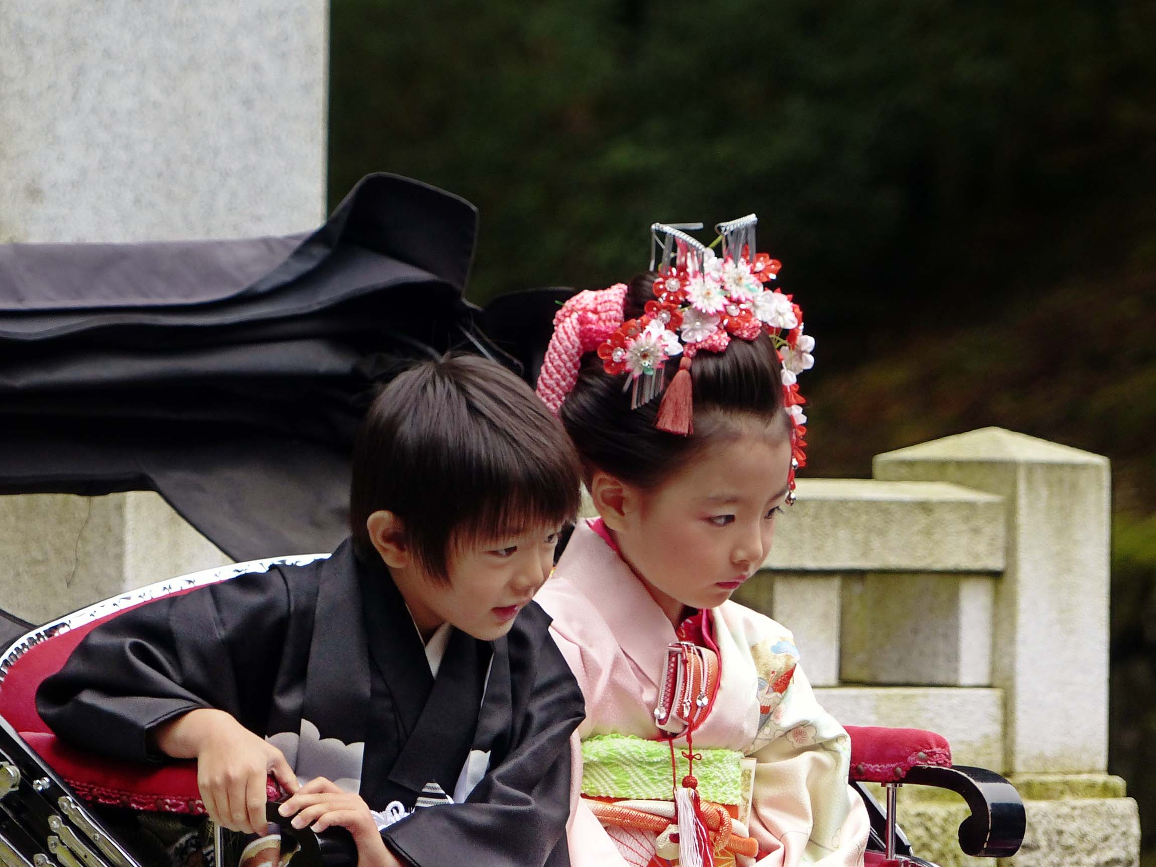 Little boy and girl in Japanese costume