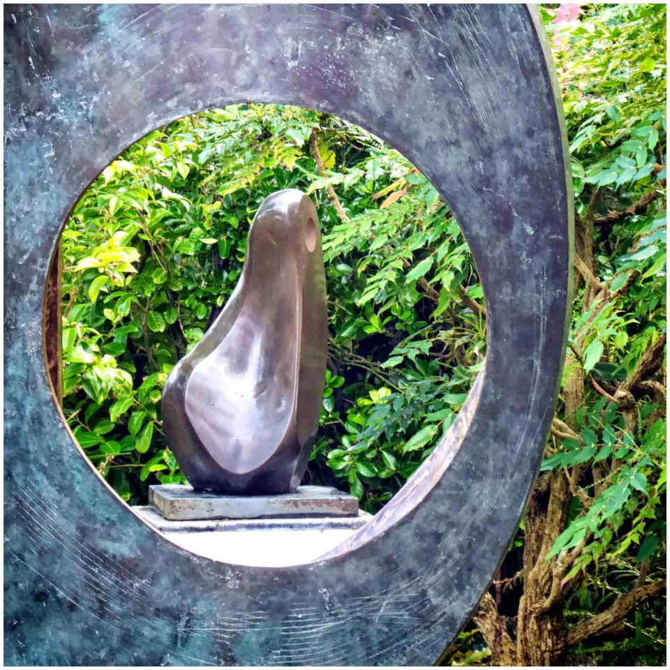 Seeing a sculpture through a hole in another