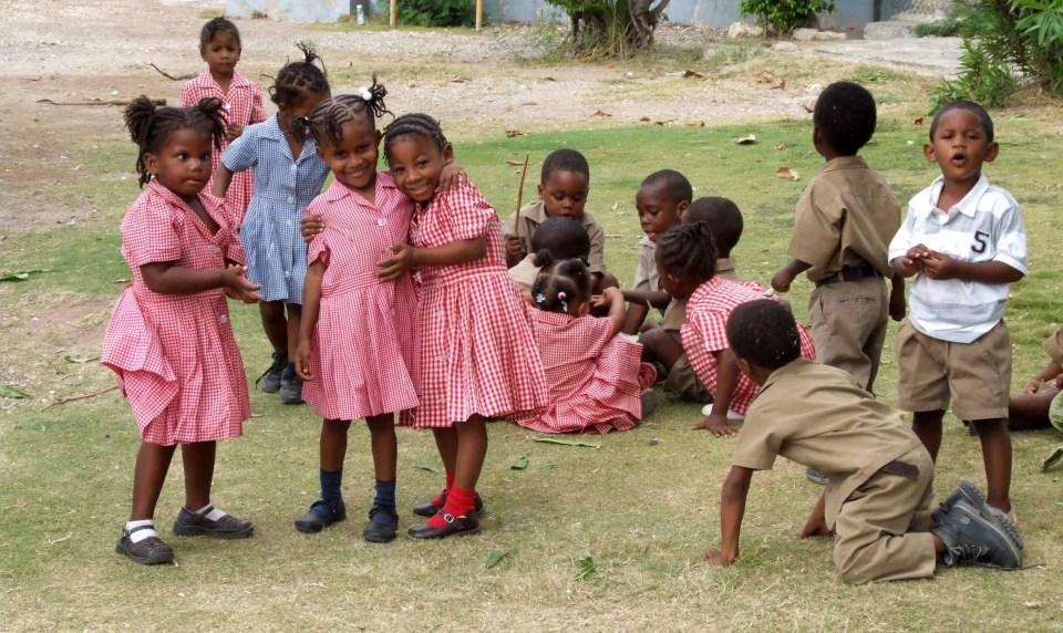 Young children in school uniform