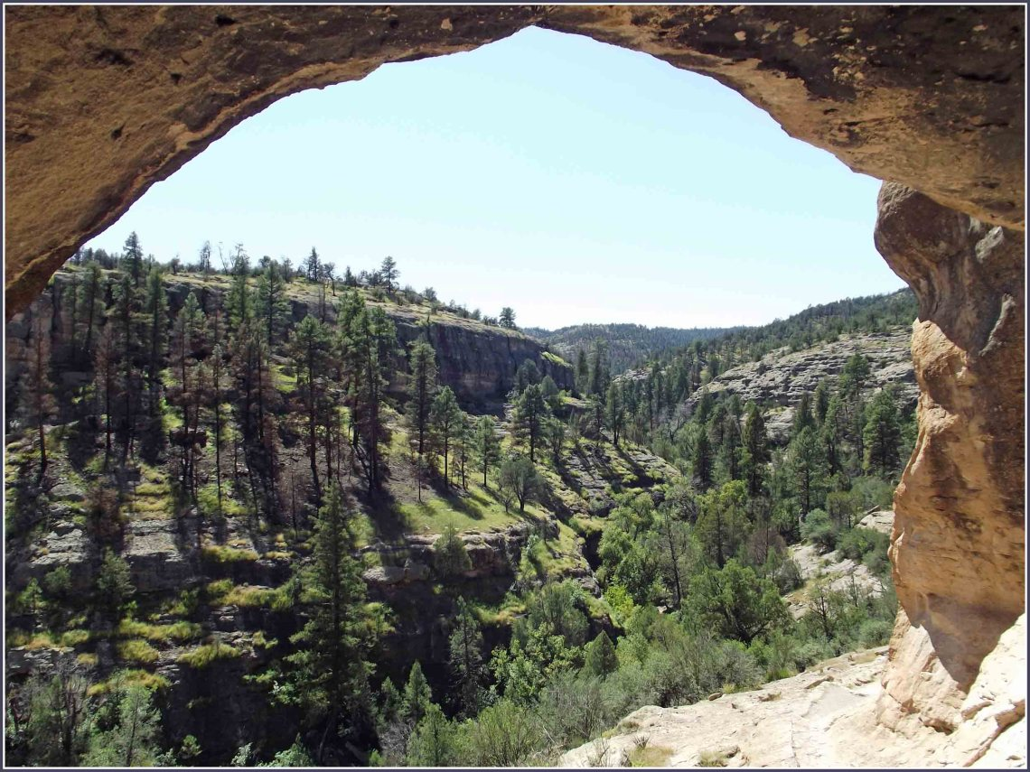Looking out from a cave towards valley with pine trees