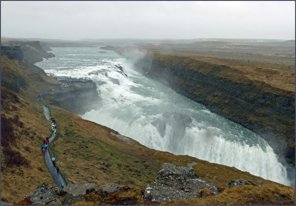 Large waterfall from a distance