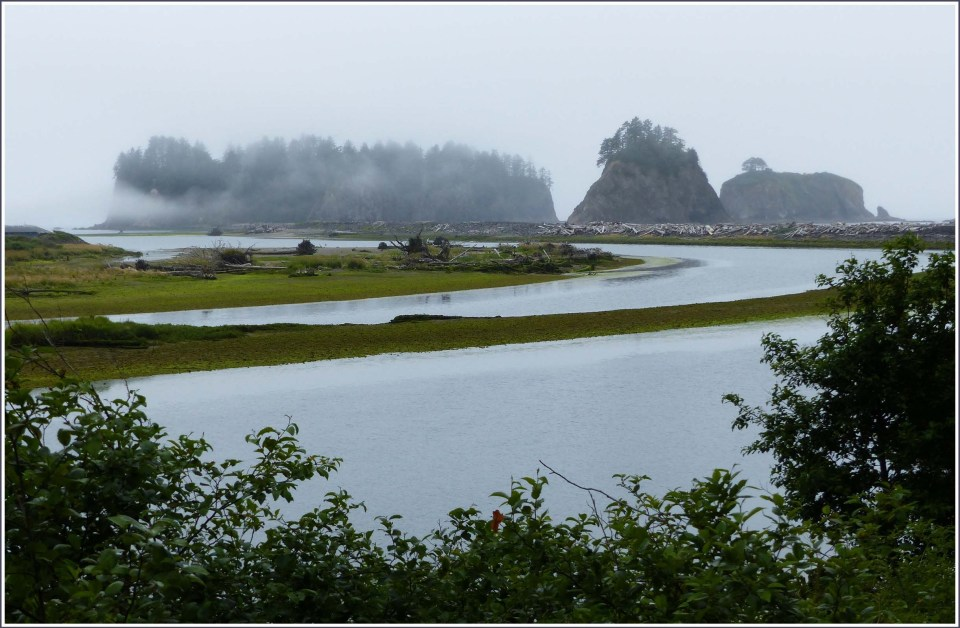 Misty sea stacks and river