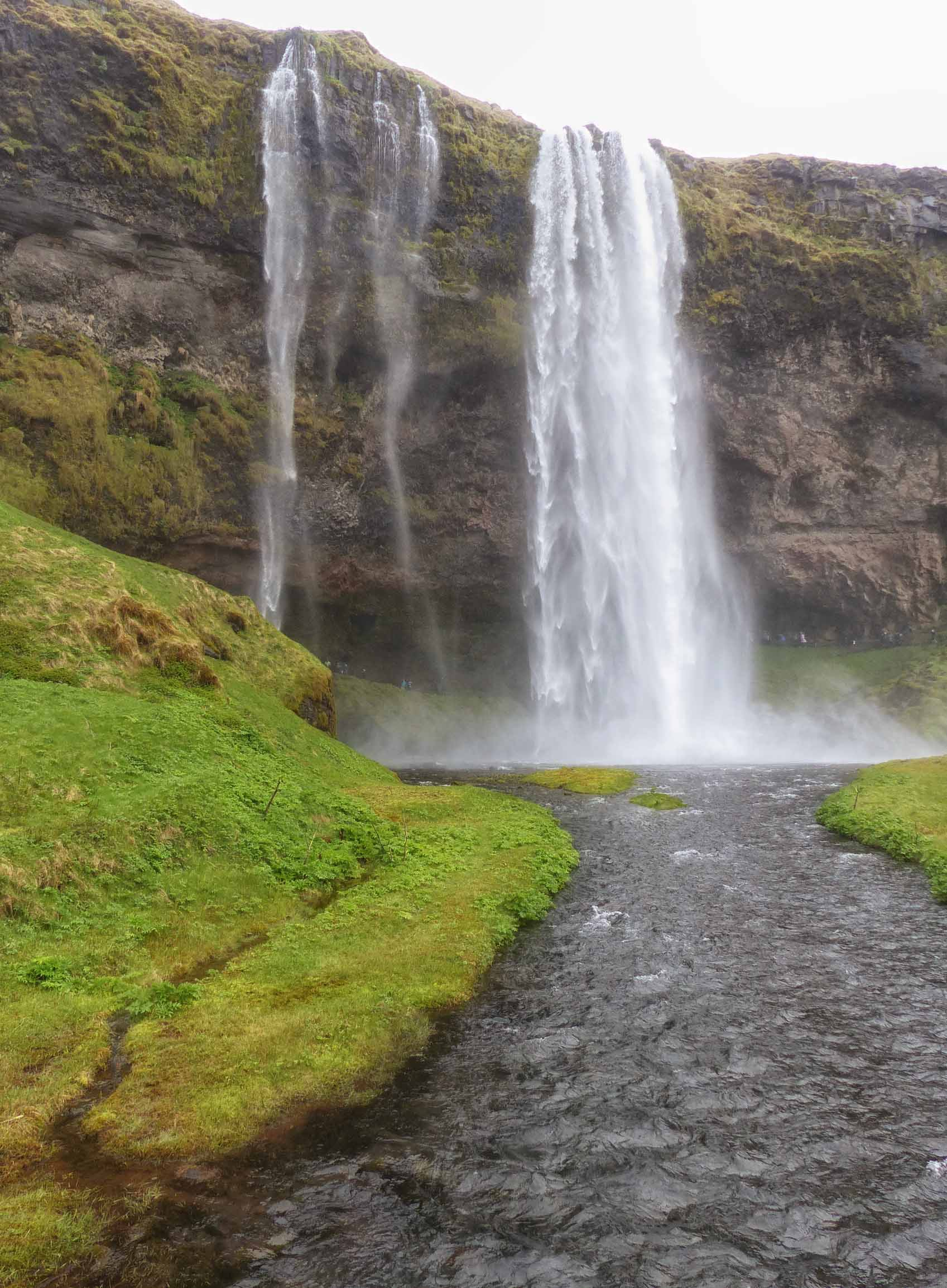 Veil-like waterfall and river
