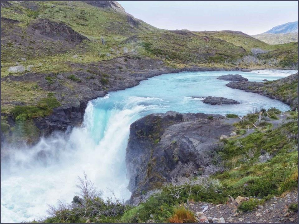 Waterfall in a barren landscape