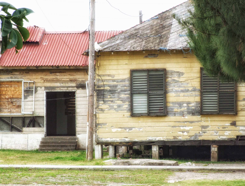 Tumbledown wooden buildings