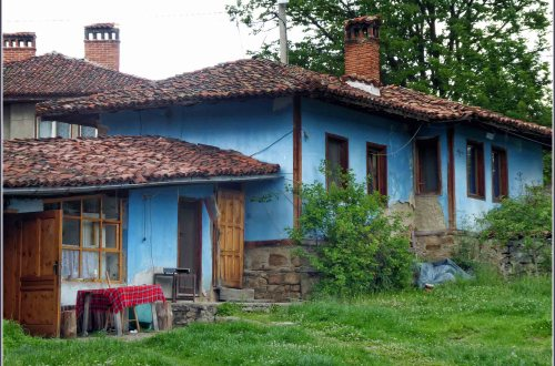 Rustic blue house