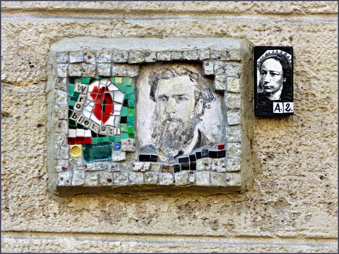 Mosaic on a wall with face of Van Gogh