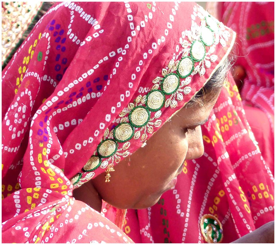 Close up of lady in pink sari