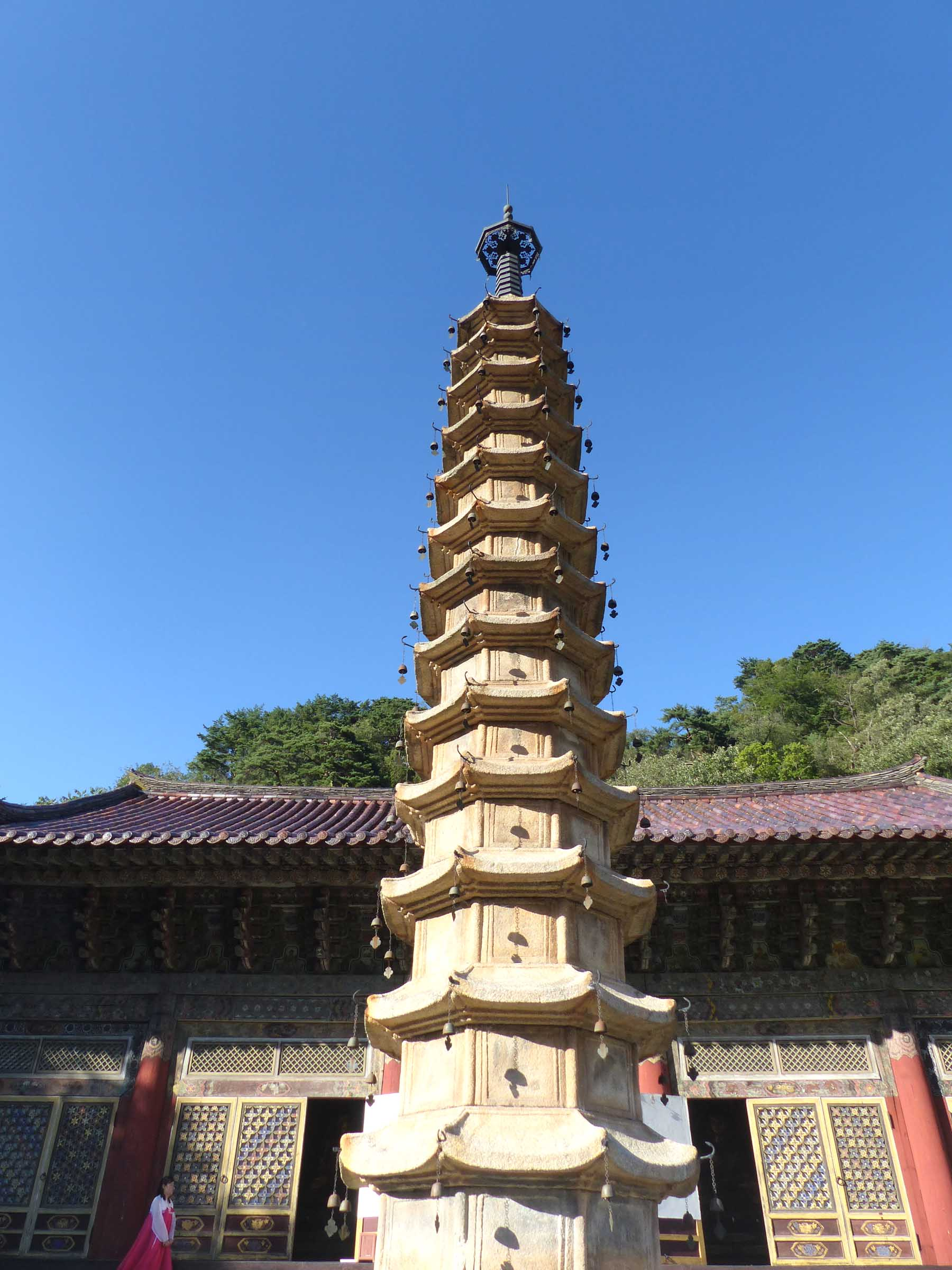 Tall stone pagoda in front of a temple building